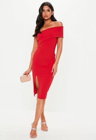 MISGUIDED Red Off The Shoulder Midi Dress