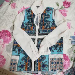 Blue White Blouse