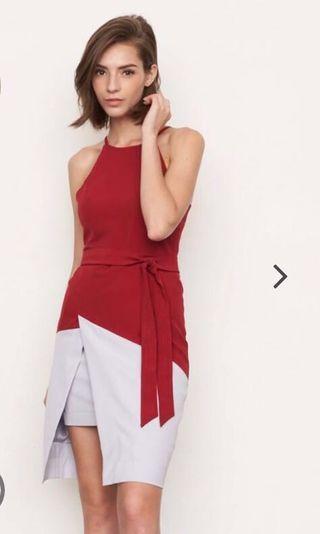 Colourblock dress in Red