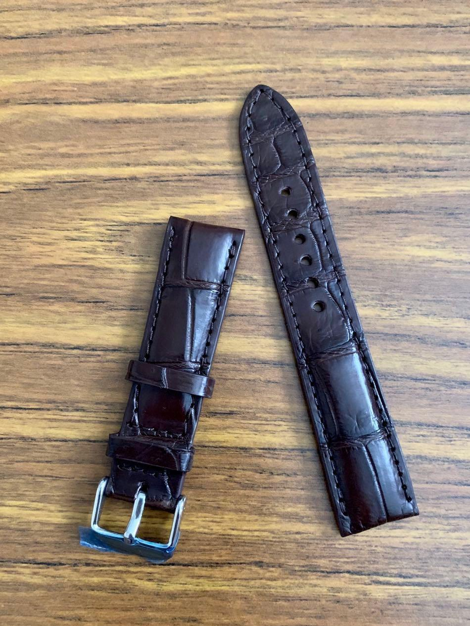 20mm/18mm Authentic Dark Pecan Brown Crocodile Alligator Watch Strap - rugged ridges  #MRTHougang #MRTSerangoon #MRTSengkang #MRTPunggol #MRTRaffles #MRTBedok #MRTTampines #MRTCCK #MRTJurongEast #MRTYishun