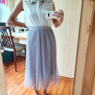 灰藍色氣質紗裙 長裙