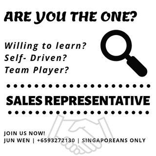 Be one of us! Sales Representative