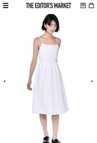 🚚 bnwt una pintuck midi dress (white)