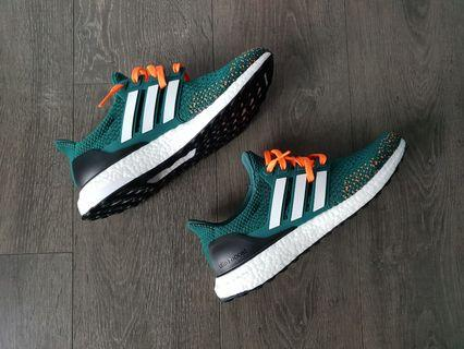 "Adidas Ultraboost Customs ""Miami Hurricanes"" US 9.5"