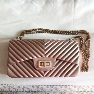 Rosegold Jelly Chain Bag