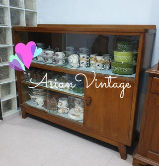Vintage A-Leg Formica Top Wooden Display Cabinet