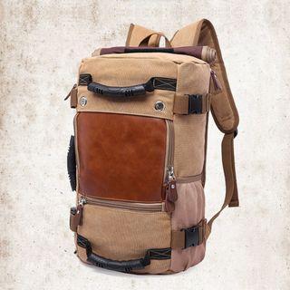 🚚 🔥IN STOCK🔥Brown Colour Canvas Backpack Men Canvas Rucksack Travel Backpack Duffel Luggage Bag #MRTJurongEast