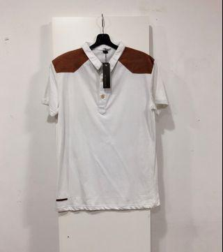 White / Brown Suede Polo Tee