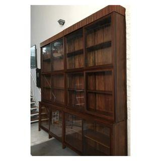 Vintage Art Deco Solid Wood Apothecary Shop Showcase Cabinets
