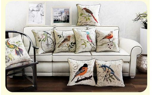 🚚 Cushion cover in bird embroidery