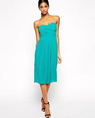 🚚 [BNWT] TFNC Strapless Midi Dress in Teal (Size XS, UK 6-8)