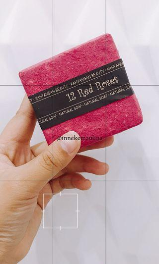Natural Soap from Bali 12 Red Roses (FREE Bubble Net)