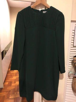 COS Long Sleeve Dress (olive green)