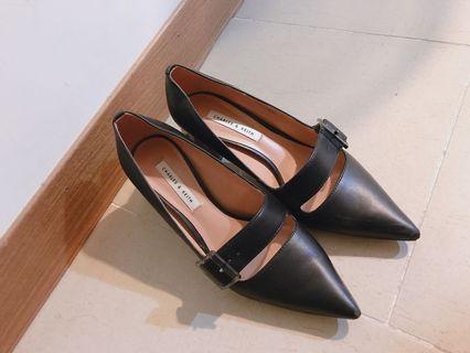 CHARLES & KEITH 透明粗跟瑪莉珍鞋(36號)