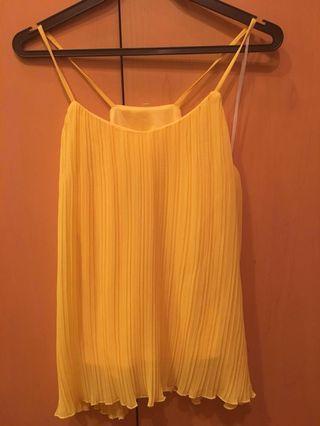 Sexy Yellow Pleated Spaghetti Top S