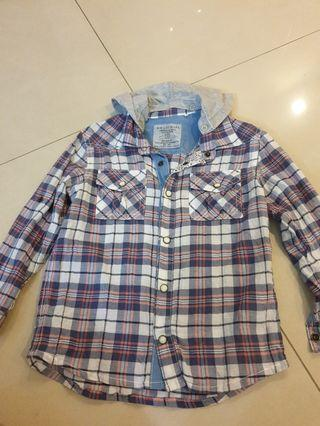 Boys Checkers Long Sleeve Shirt, size 6 (with detachable hoodie)