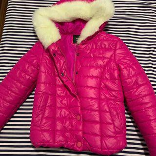 Pink Hoodie/ Hooded Puffer Jacket With Fur Collar