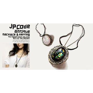 全新 韓國摩洛哥蛋白石質感黑寶石項鍊 麂皮長鍊