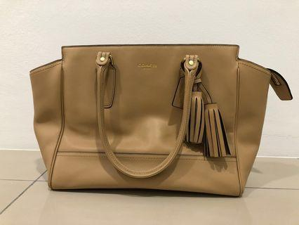 Coach Legacy Candace Sand Leather Tote 24201 Gold Toned Hardware