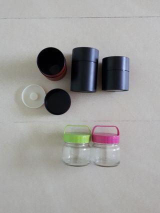 #blessing Plastic Tea Canisters n Glass Bottles