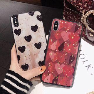 OPPO CASINGS: HEART SHAPED PRINTED GOLD FOIL GLITTER IN WHITE GOLD RED