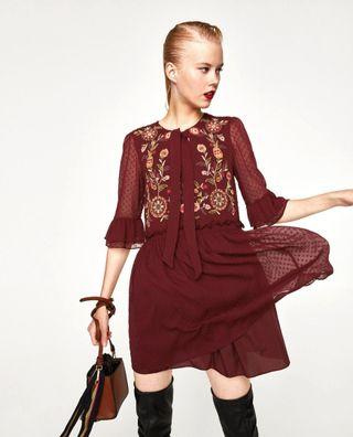 🚚 Zara Maroon Babydoll Dress