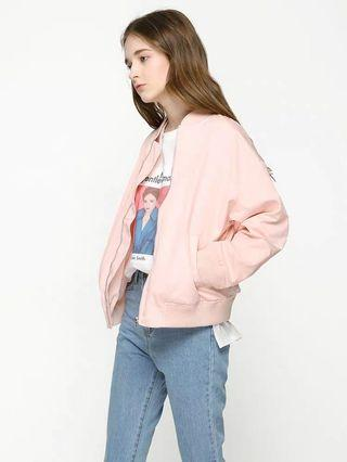 South Korea Ulzzang Pink Bomber Jacket
