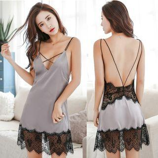 [READY STOCK] Grey Silk Lace Sexy Back Strap Slip Sleepwear Lingerie MS498