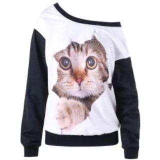 Skew Neck Color Block Cat Print Sweatshirt - White And Black 2XL