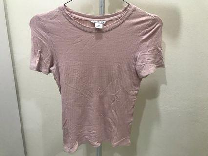 Monki Ribbed Pink Top