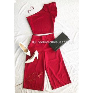 Dark Red Clothing Set (Top & Midi Pants)