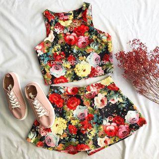 Floral Clothing Set (Top & Skorts)