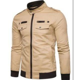 Rib Stand Collar Epaulet Zip Up Cargo Jacket - Khaki XL