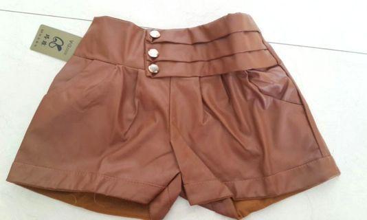 Celana Pendek kulit sintetis coklat / hijau army hotpants #HBDSale