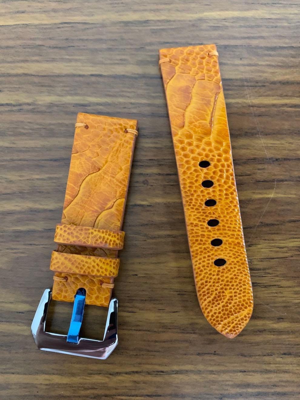 24mm/22mm Authentic Golden Sunrise Brown Ostrich Leg Watch Strap - (22mm tang buckle- compatible dimension as OEM panerai buckle) #MRTHougang #MRTSerangoon #MRTSengkang #MRTPunggol #MRTRaffles #MRTBedok #MRTTampines #MRTCCK #MRTJurongEast #MRTYishun