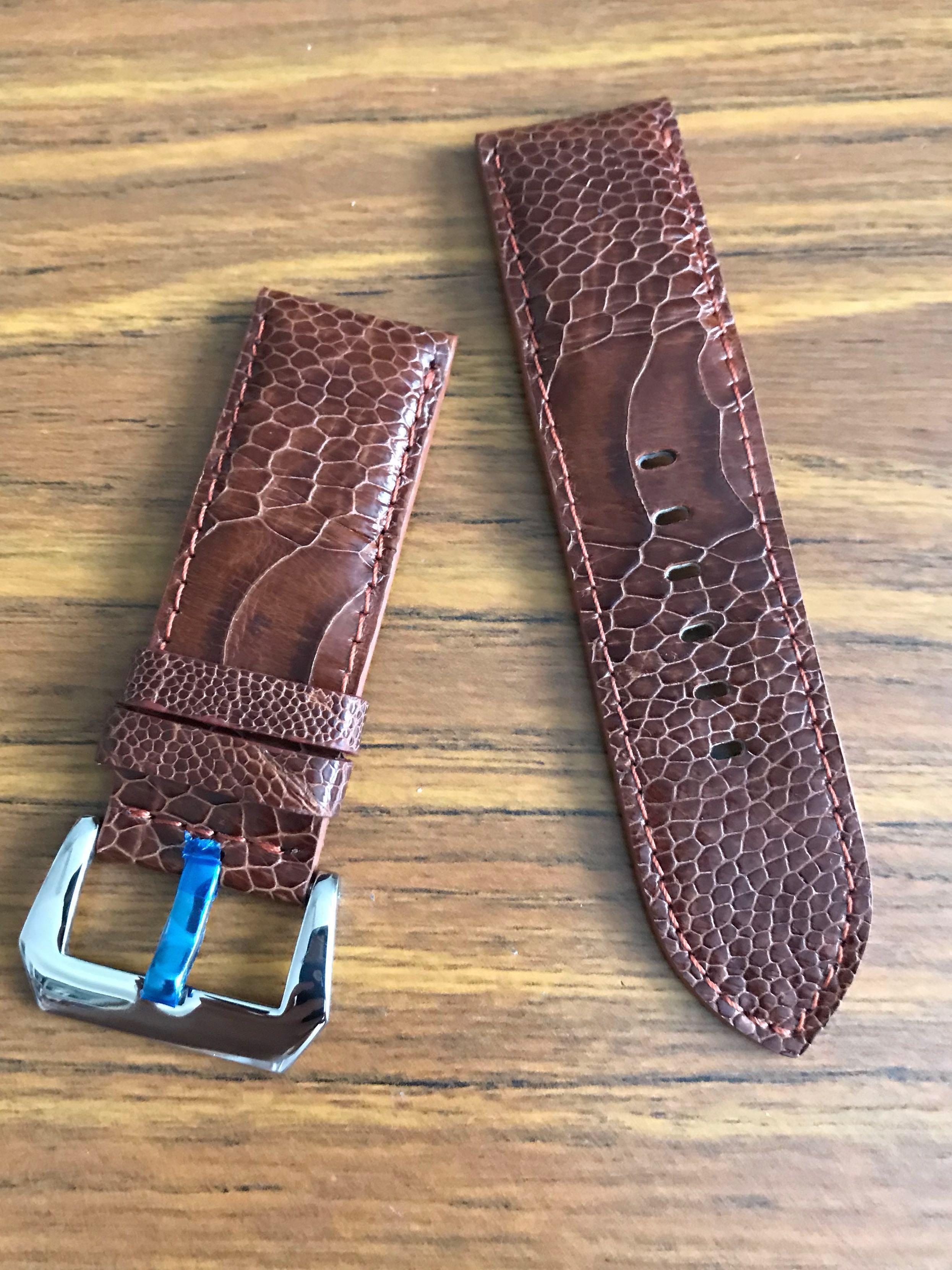 26mm/26mm Authentic Cognac Brown Ostrich Leg Watch Strap #MRTHougang #MRTSerangoon #MRTSengkang #MRTPunggol #MRTRaffles #MRTBedok #MRTTampines #MRTCCK #MRTJurongEast #MRTYishun