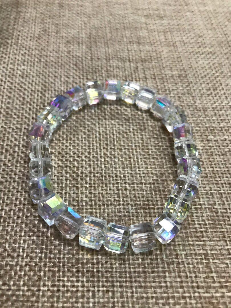 8mm Square Crystal Bracelet, available in adult and kids size