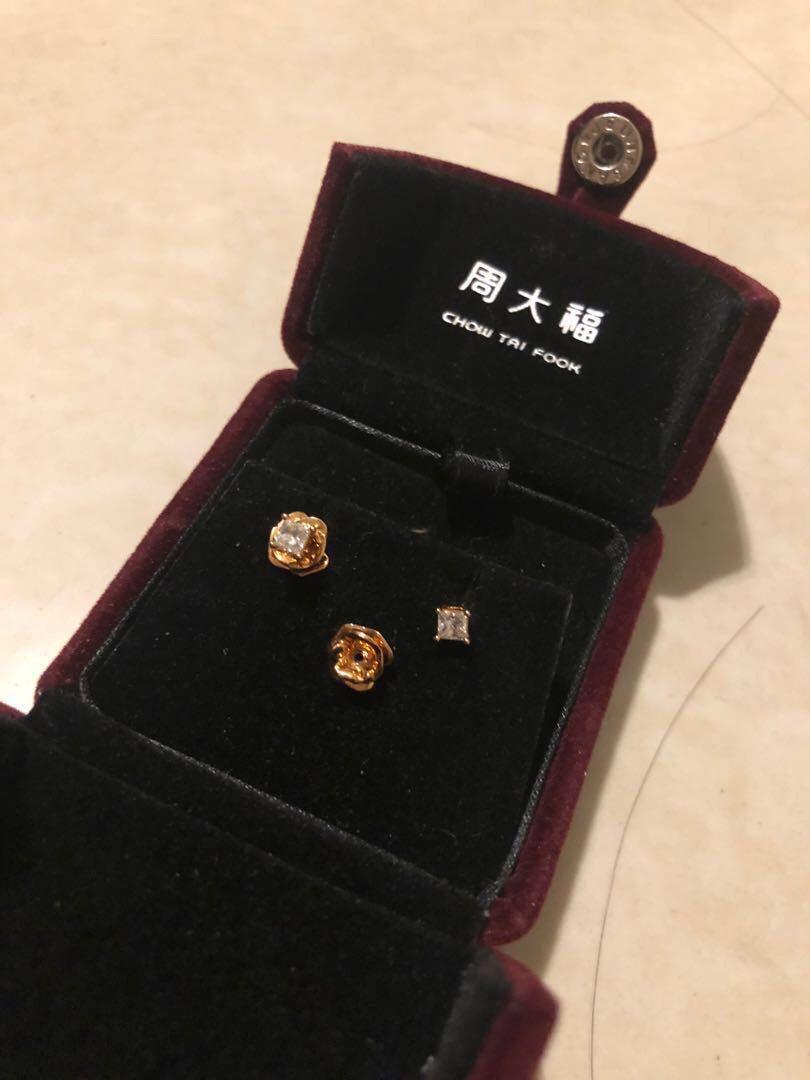 周大福玫瑰花黃金鑲天然鑽石耳環