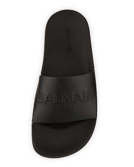 Balmain Calypso Leather Slides