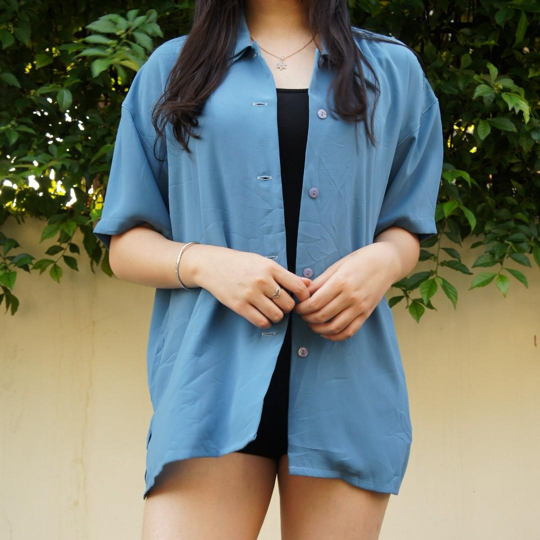 Blue top / outer / blouse /kemeja  (thrift)