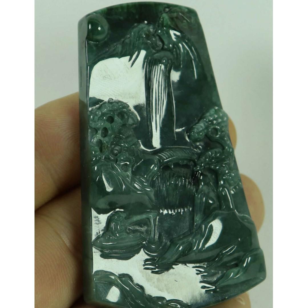 Cert'd Dark Green Natural A JADE jadeite Two-sided Carved Pendant 山水