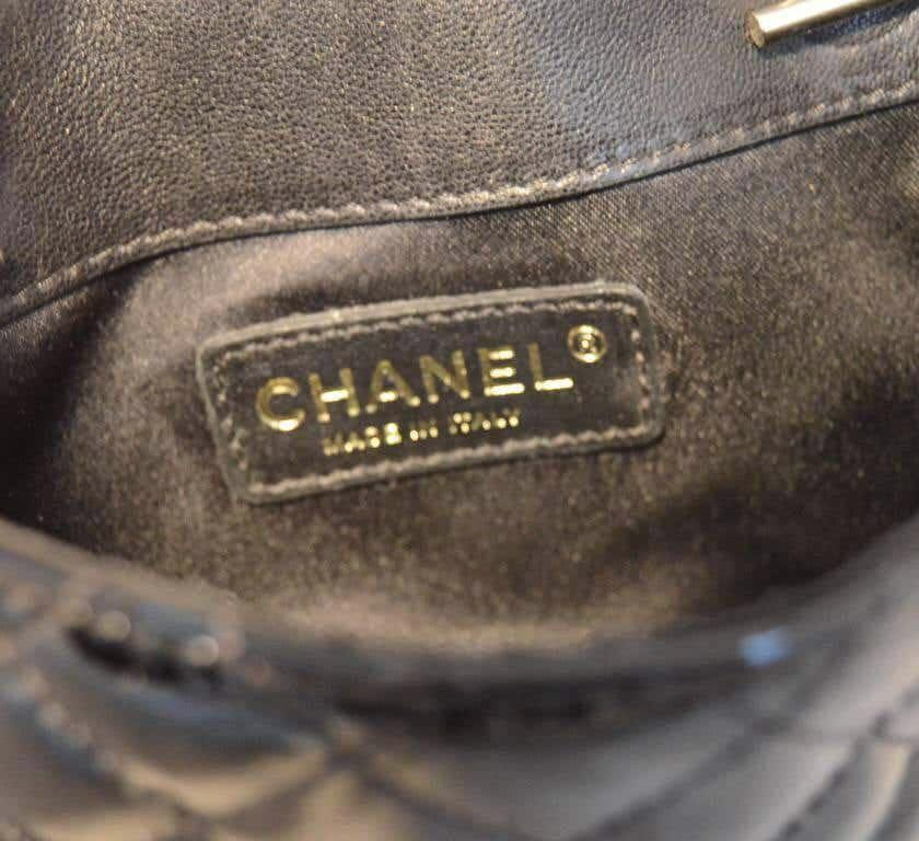 Chanel Black Patent Leather Classic and Lace Pouch Shoulder Bag