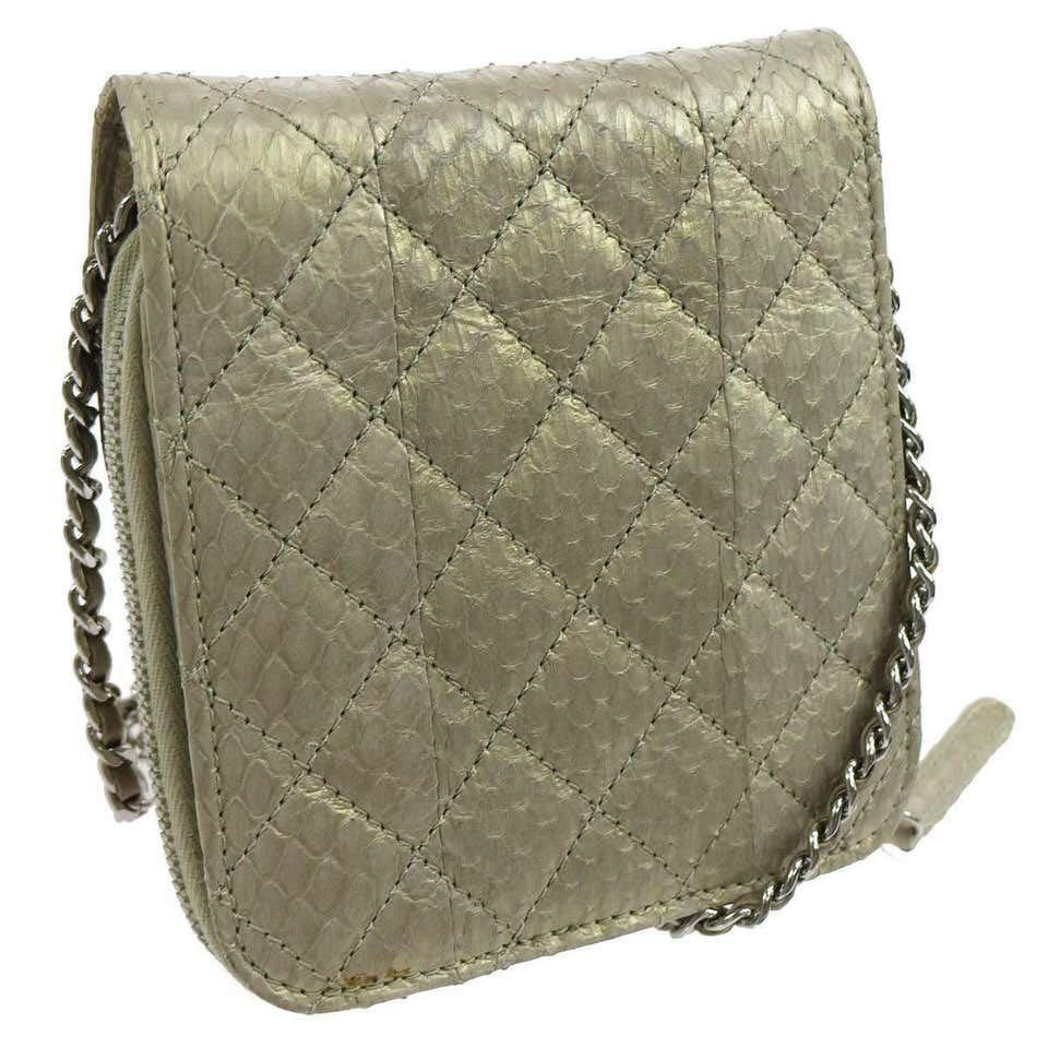 Chanel Python Iridescent Evening Wallet on Chain WOC Crossbody Shoulder Flap Bag