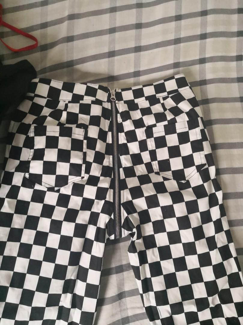 Checkered Zip pants
