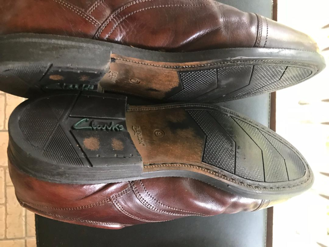Clarks extra wide brown dress shoes