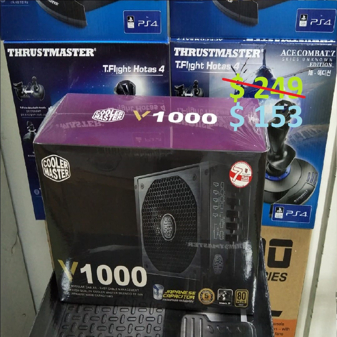 CoolerMaster V1000 80 PLUS GOLD FULL MODULAR 1000W (7Y)   , Best use for  RTX 2060, 2070, 2080, 2080 Ti  , or Walk in Tonite for better Offer Rate  ,