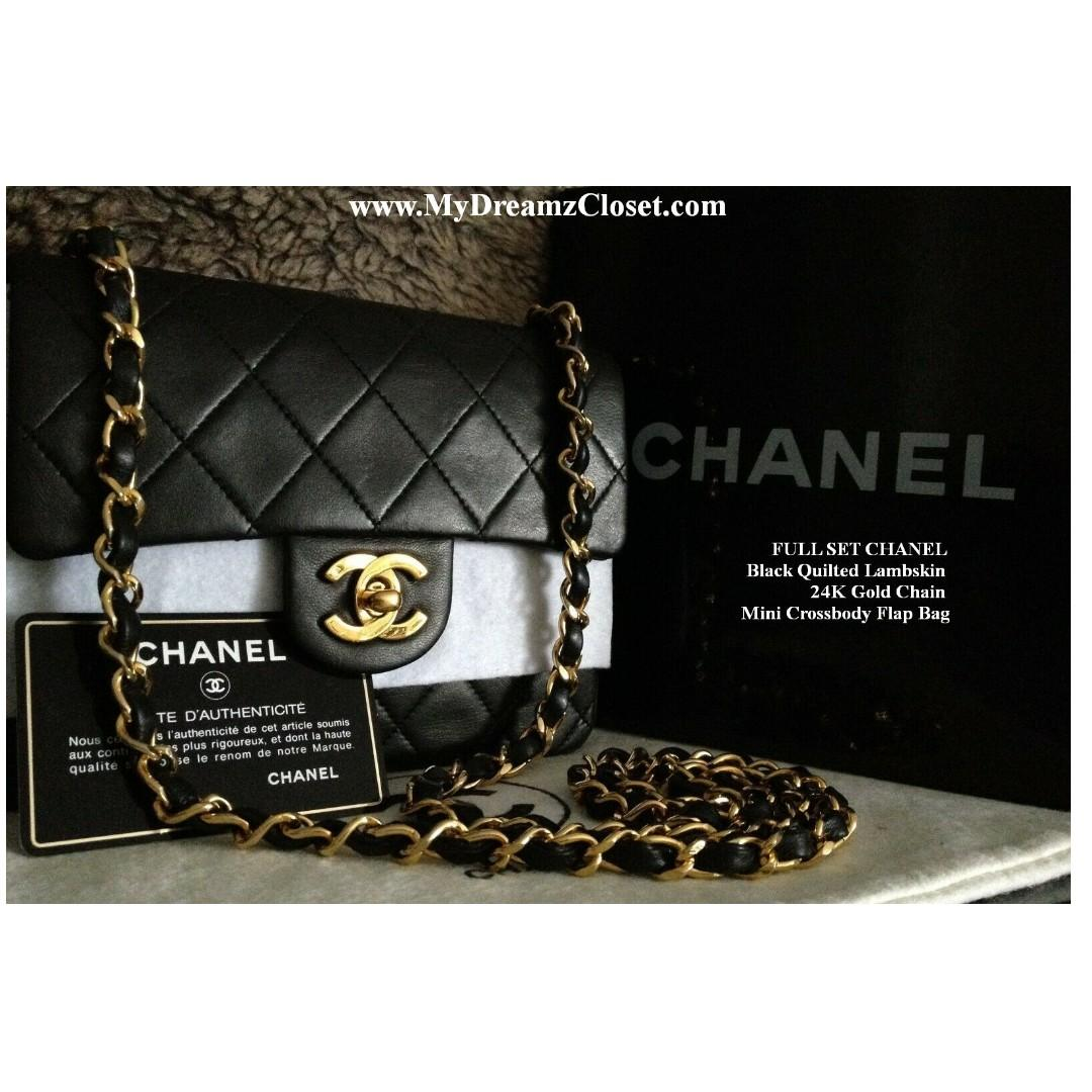 FULL SET CHANEL Black Quilted Lambskin 24K Gold Chain Mini Crossbody Flap Bag