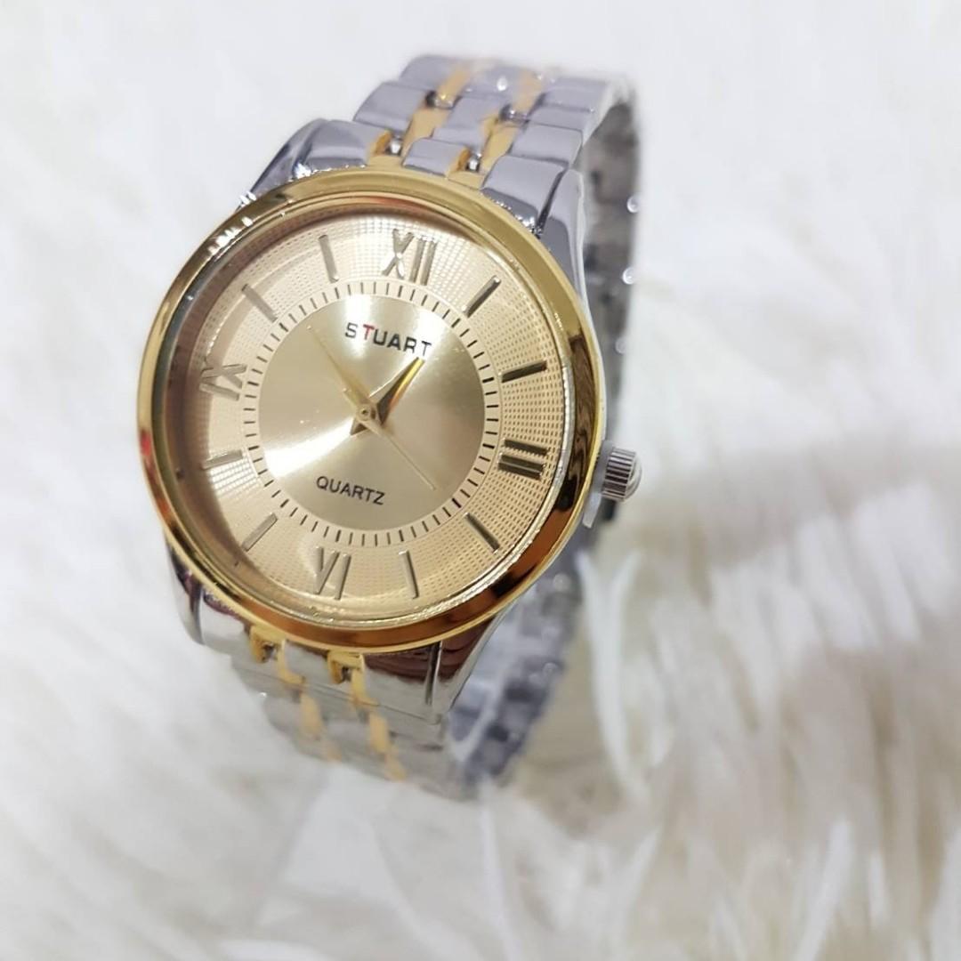 Jam tangan CLASSY GOLD  Rantai putih kombinasi gold premium halus diameter 4cm