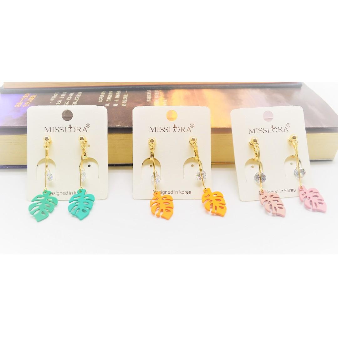 040a6a11c Korean Style Leaf Clip-on Earrings Cute MissLora, Women's Fashion,  Jewellery, Earrings on Carousell