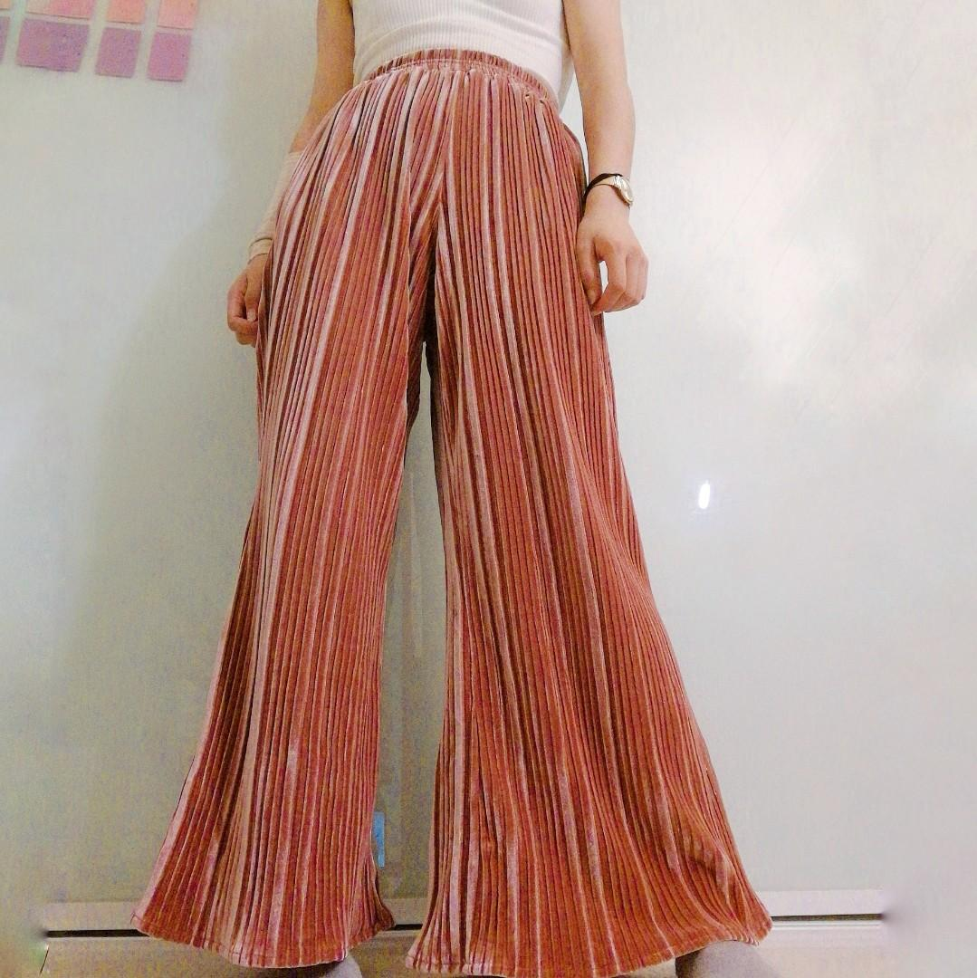 Long flowy velvet pants